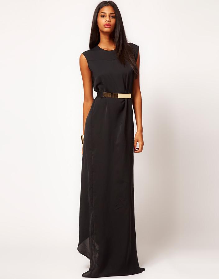 Aqua Alice Belted Column Maxi Dress