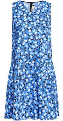 Marni Woman Pleated Printed Cotton-poplin Dress Azure Size 44
