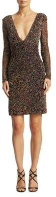 Theia Beaded V-Neck Dress