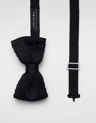 Religion wedding knitted bow tie in black