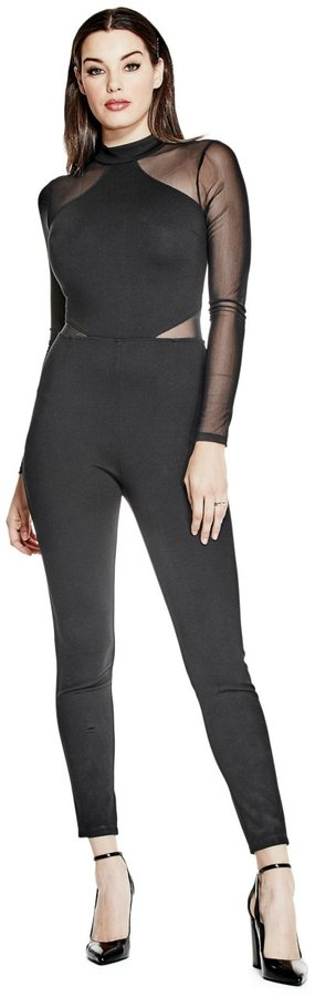 GUESS Angelina Ponte Mesh Jumpsuit