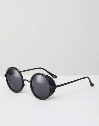 Asos Round Sunglasses In Black With Side Cap Detail