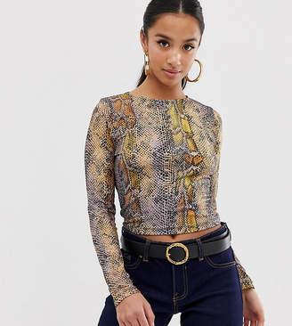 Asos DESIGN Petite long sleeve top in ombre snake print