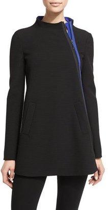 Armani Collezioni Asymmetric-Zip Ottoman Swing Coat, Black $1,195 thestylecure.com