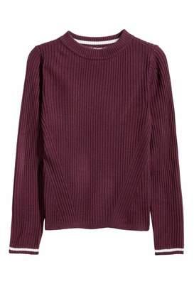 H&M Rib-knit Sweater - Burgundy - Kids