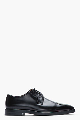 Raf Simons Black Leather Holographic-Detailed Very Sharp Derbys