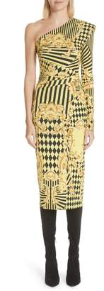 Versace Mixed Print One Shoulder Dress