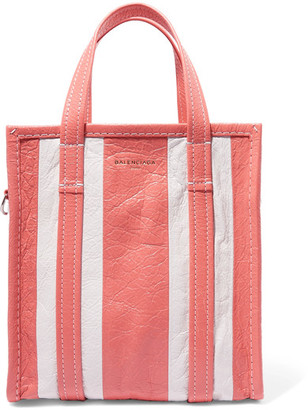 Balenciaga - Bazar Small Striped Textured-leather Tote - Coral $1,395 thestylecure.com