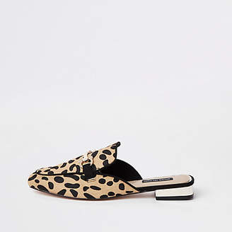 River Island Brown leopard snaffle backless loafers