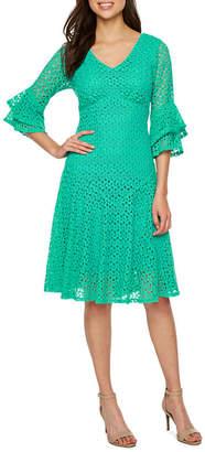 Rabbit Rabbit Rabbit DESIGN Design 3/4 Tiered Bell Sleeve Lace Fit & Flare Dress
