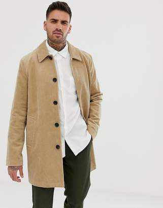 Asos Design DESIGN single breasted trench coat in cord in stone