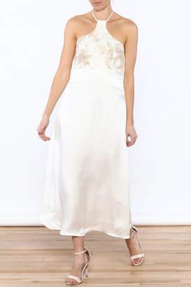 Dawn Sunflower White Silk Midi Dress