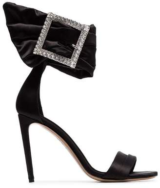 Alexandre Vauthier black Yasmin 100 silk satin crystal buckle sandals
