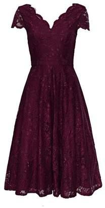Wallis **Jolie Moi Burgundy Lace Prom Dress
