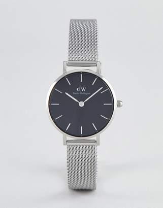 Daniel Wellington Petite Sterling Black Dial Mesh Watch in Silver 28mm