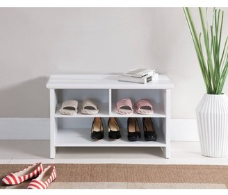 Pilaster Designs Tyra White Wood Contemporary Entryway Shoe Bench Display With Storage Cubby Shelves