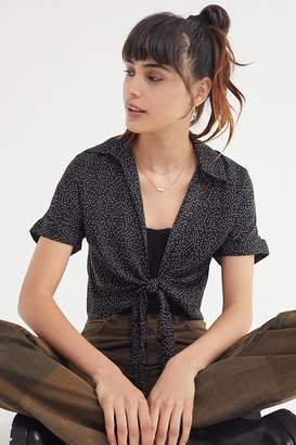 Urban Outfitters Tie-Front Short Sleeve Cropped Top