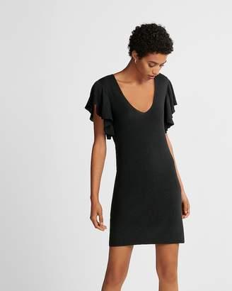 Express Ruffle Sleeve Deep V-Neck Sweater Dress