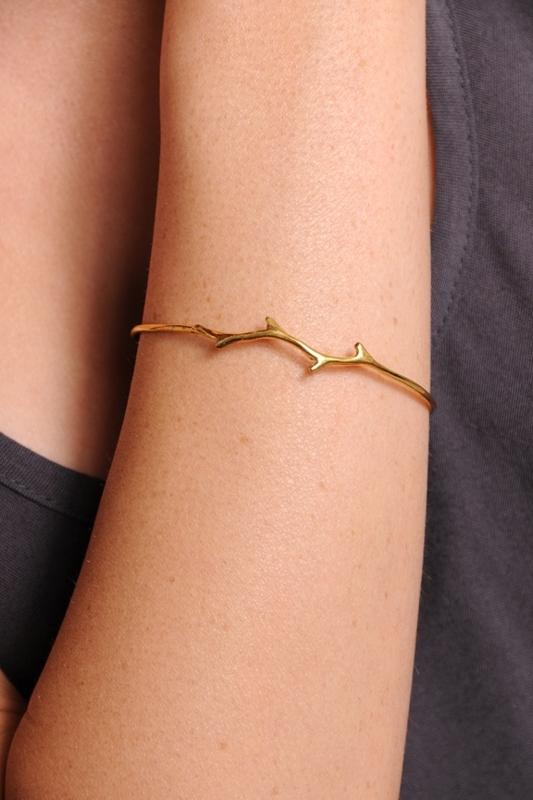 Iwona Ludyga Design Gold Plated Branch Bangle Bracelet