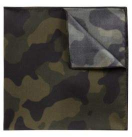HUGO Boss Pocket square in pure silk camouflage print One Size Dark Green