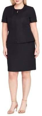Tahari Arthur S. Levine Zip Peplum Jacket and Skirt Suit