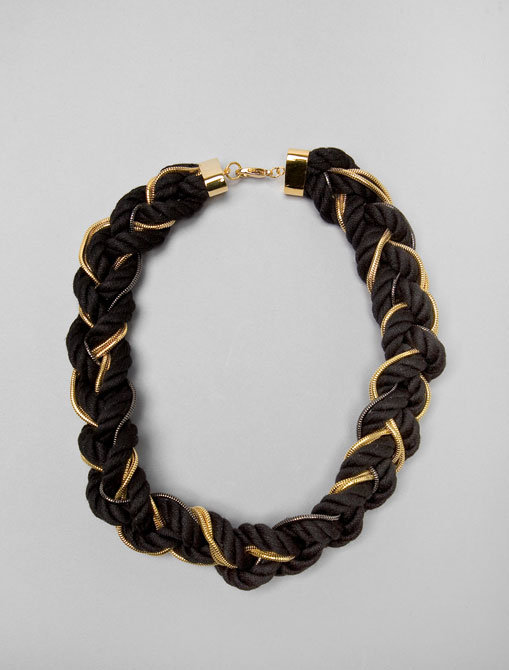Alexis Bittar Braided Black Cord, Rhodium and Gold Snake Chain Necklace
