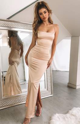 The Edit Manhattan Slip Formal Dress Champagne