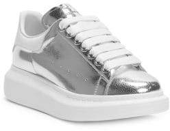 Alexander McQueen Cracked Metallic Leather Platform Sneakers