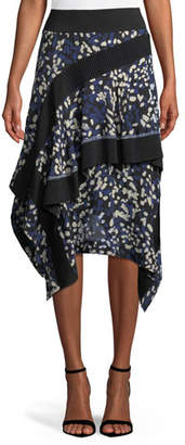 3.1 Phillip Lim Layered Painted-Dot Silk Midi Skirt w/ Rib Details