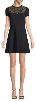 Valentino Studded Fit-&-Flare Dress
