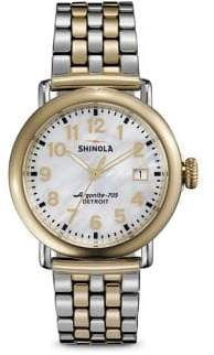 Shinola Runwell Mother-Of-Pearl& Two-Tone Stainless Steel Bracelet Watch