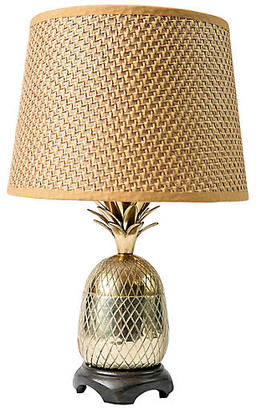Brass Pineapple Lamp with Rattan Shade