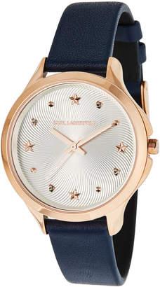 Karl Lagerfeld 38mm Karoline Leather Watch, Rose/Navy