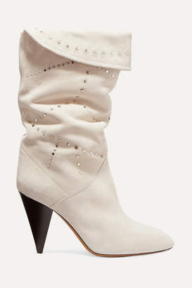Isabel Marant Lestee Studded Suede Knee Boots - White