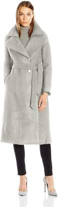 Nanette Lepore Women's Knit Herringbone Fold Over Notch Collar Maxi Coat