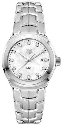 Tag Heuer Link Mother-Of-Pearl and Diamond Watch, 32mm