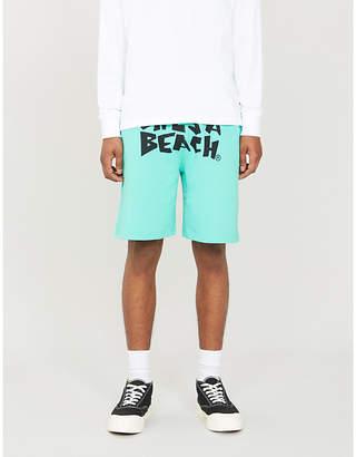 Lifes A Beach Logo-print cotton shorts