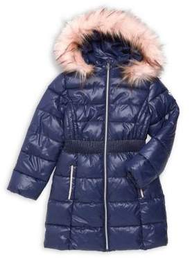 Michael Kors Girl's Faux Fur Hood Puffer Walker Coat