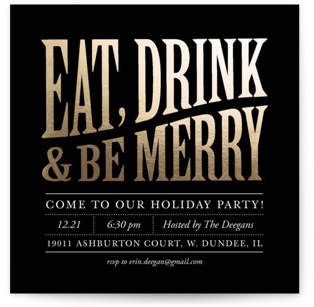 Bold and Merry Foil-pressed Party Invitation