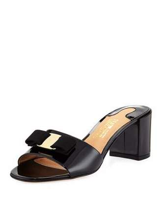 Salvatore Ferragamo Eolie Patent Block-Heel Slide Sandals, Black