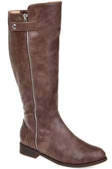Brinley Co. Womens Comfort Wide Calf Side Zipper Riding Boot