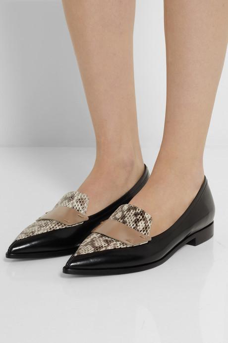 Nicholas Kirkwood Leather and elaphe point-toe flats