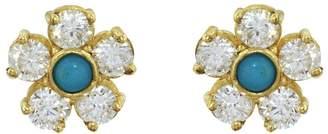 Jennifer Meyer Diamond Turquoise Center Flower Stud Earrings
