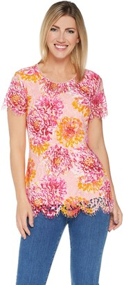 Isaac Mizrahi Live! Short Sleeve Printed Lace Knit Top