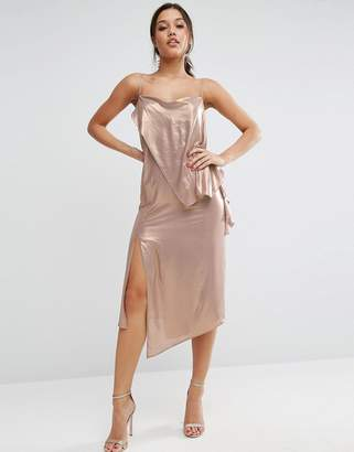 Asos Design Metallic Cami Drape Front Midi Dress
