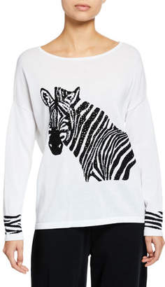 Joan Vass Petite Boat-Neck Sequined Zebra Intarsia Sweater w/ Cuff Detail