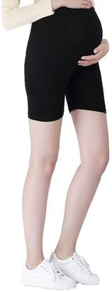 Liang Rou Maternity Thin Spandex Short Safety Leggings With Lace Trim Black M