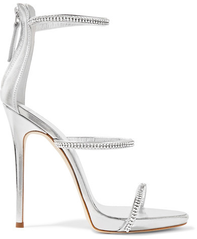 Giuseppe Zanotti - Crystal-embellished Metallic Leather Sandals - Silver