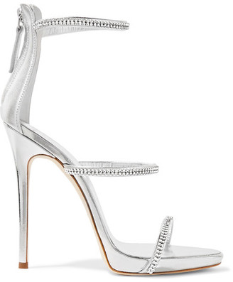 Giuseppe Zanotti - Crystal-embellished Metallic Leather Sandals - Silver $945 thestylecure.com