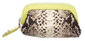 Henri Bendel Embossed Leather-Trimmed Printed Zip Pouch